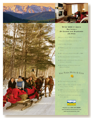 Vail Plaza winter print ad